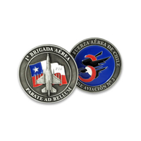 Custom Metal 3D Military Police Antique Silver Aircraft Challenge Coin